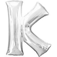Folienballon XL Buchstabe K Silber Partydeko Geburtstag Ballon