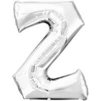 Folienballon XL Buchstabe Z Silber Partydeko Geburtstag Ballon