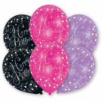 Luftballon Happy Birthday Schwarz/Pink Art. 9901070 Partydeko Geburtstag Ballon