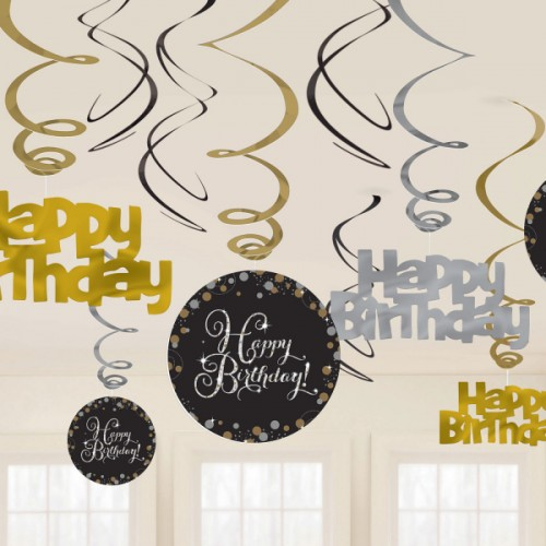Hängedeko 12er Happy Birthday Sparkling Partydeko Geburtstag Schwarz