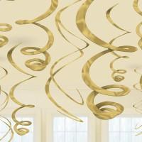 Hänge Swirl Dekoration Gold Partydeko Geburtstag