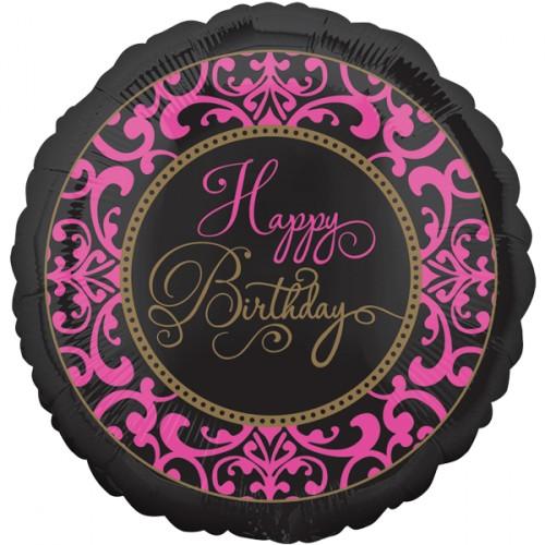 Folienballon Happy Birthday schwarz/pink Art. 32109 Partydeko Luftballon Geburtstag