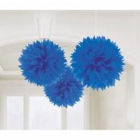 PomPom Fluffy Blau Partydeko Geburtstag Marineblau