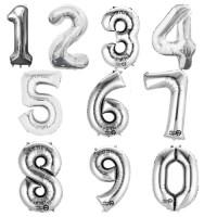 Folienballon XXL Zahl Silber
