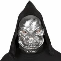 Halloween Masken Totenkopf mit Kapuze Silber Schädel