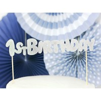 Kuchendeko Silber Cake Topper Partydeko 1. Geburtstag 1. Kindergeburtstag