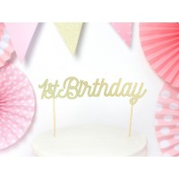 Kuchendeko Gold Cake Topper Partydeko 1. Geburtstag 1. Kindergeburtstag