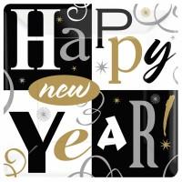 Silvester Teller Happy New Year Eckig Partydeko