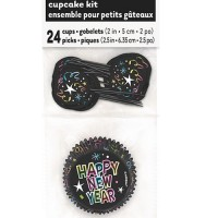 Silvester Partydeko Cupcake Set mit Picker Happy New Year