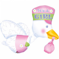 Babyparty XXL Folienballon Storch its a Girl Partydeko Ballon