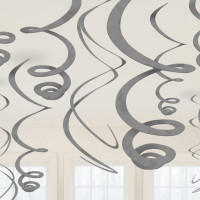 Hänge Swirl Dekoration Silber Partydeko Geburtstag