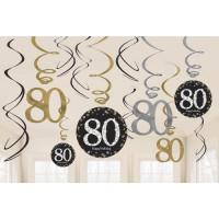 Sparkling Hängedeko Zahl 80 Happy Birthday Partydeko Geburtstag
