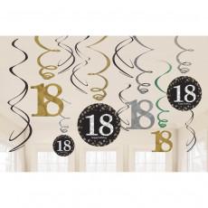 Sparkling Hängedeko Zahl 18 Happy Birthday Partydeko Geburtstag