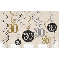 Sparkling Hängedeko Zahl 30 Happy Birthday Partydeko Geburtstag