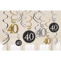 Sparkling Hängedeko Zahl 40 Happy Birthday Partydeko Geburtstag
