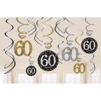 Sparkling Hängedeko Zahl 60 Happy Birthday Partydeko Geburtstag