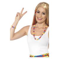 Hippie Kette mit Armband Schlagerparty Fasching Set 70er Jahre