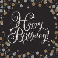 Sparkling Servietten Happy Birthday Partydeko Geburtstag Schwarz