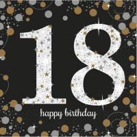 Sparkling Servietten Zahl 18 Happy Birthday Partydeko Geburtstag Schwarz