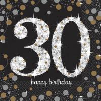 Sparkling Servietten Zahl 30 Happy Birthday Partydeko Geburtstag Schwarz