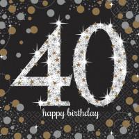 Sparkling Servietten Zahl 40 Happy Birthday Partydeko Geburtstag Schwarz