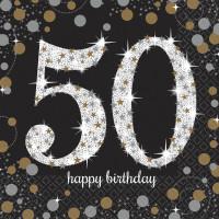Sparkling Servietten Zahl 50 Happy Birthday Partydeko Geburtstag Schwarz
