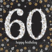 Sparkling Servietten Zahl 60 Happy Birthday Partydeko Geburtstag Schwarz