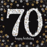 Sparkling Servietten Zahl 70 Happy Birthday Partydeko Geburtstag Schwarz