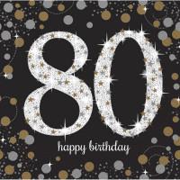 Sparkling Servietten Zahl 80 Happy Birthday Partydeko Geburtstag Schwarz