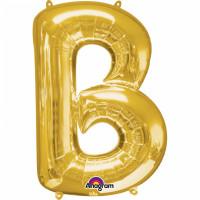 Folienballon XL Buchstabe B Gold Partydeko Geburtstag Ballon