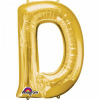 Folienballon XXL Buchstabe D Gold Partydeko Geburtstag Ballon