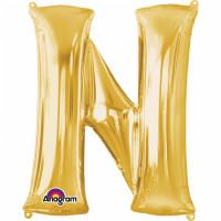 Folienballon XXL Buchstabe N Gold Partydeko Geburtstag Ballon
