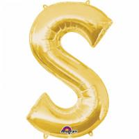 Folienballon XXL Buchstabe S Gold Partydeko Geburtstag Ballon