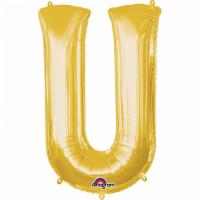 Folienballon XXL Buchstabe U Gold Partydeko Geburtstag Ballon