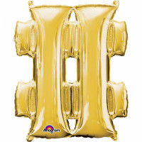 Folienballon XXL Buchstabe Hashtag Gold Partydeko Geburtstag Ballon