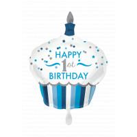 Folienballon XXL Art. 34523 Muffin Partydeko 1. Geburtstag Junge
