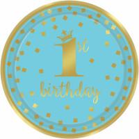 Krone Blau Teller Partydeko 1. Geburtstag Junge