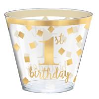 Krone Gold Becher Partydeko 1. Geburtstag Junge / Mädchen