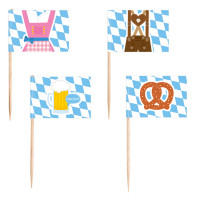 Oktoberfest Party Picker Brezel Partydeko Blau Weiss Picker