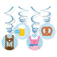 Oktoberfest Party Hängedeko Swirl O´Zapft Is Partydeko Blau Weiss