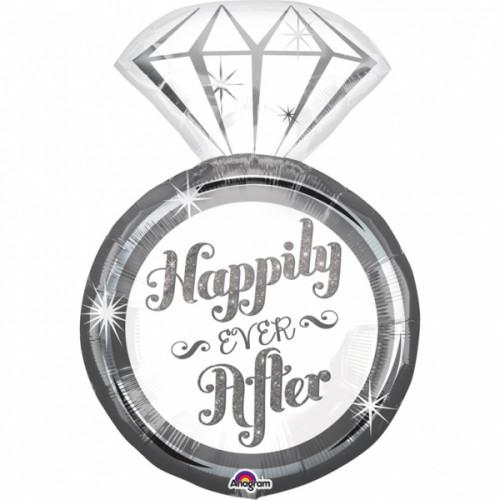 Folienballon Jumbo Diamant Ring Hochzeit Partydeko Ballon