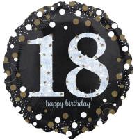 Folienballon Zahlenballon Sparkling Zahl 18 Partdeko Geburtstag Ballon