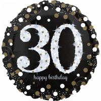 Folienballon Zahlenballon Sparkling Zahl 30 Partdeko Geburtstag Ballon