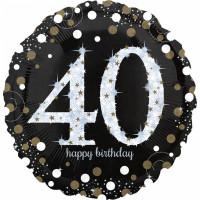 Folienballon Zahlenballon Sparkling Zahl 40 Partdeko Geburtstag Ballon