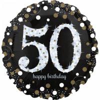Folienballon Zahlenballon Sparkling Zahl 50 Partdeko Geburtstag Ballon