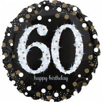 Folienballon Zahlenballon Sparkling Zahl 60 Partdeko Geburtstag Ballon