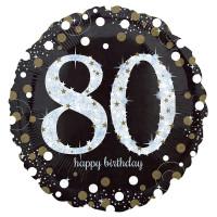 Folienballon Zahlenballon Sparkling Zahl 80 Partdeko Geburtstag Ballon