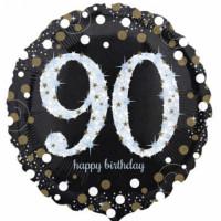 Folienballon Zahlenballon Sparkling Zahl 90 Partdeko Geburtstag Ballon