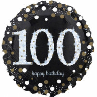 Folienballon Zahlenballon Sparkling Zahl 100 Partdeko Geburtstag Ballon