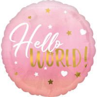 Folienballon Hallo World Baby Art. 39724 Partydeko Babyparty Geburt Ballon